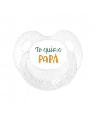 Chupete Retro Te Quiero Papá Transparente Mostaza de Tutete